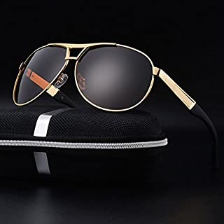 TT WARE Mens Summer HD Polarized Sunglasses Vintage Outdoors Anti-UV Driving Goggle-Gold