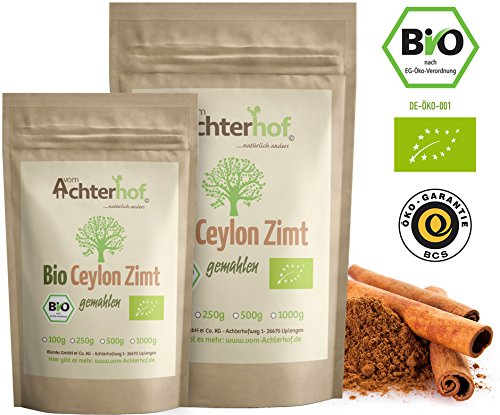 Bio Ceylon Zimt gemahlen (250g) mit wenig Cumarin in premium Qualität | 100% ECHTES Bio Ceylon...