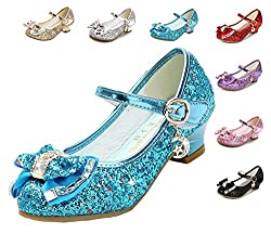 Blue/B1 Heels Mary Jane Princess Flower Girl Shoes