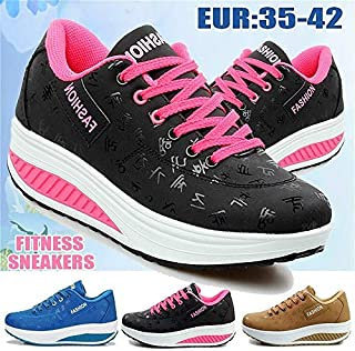 2019 New Super Soft Women Fashion Fitness Shoes Shake Shoes Sports Sneakers(Plus Size 35-42)(Coffee,35)