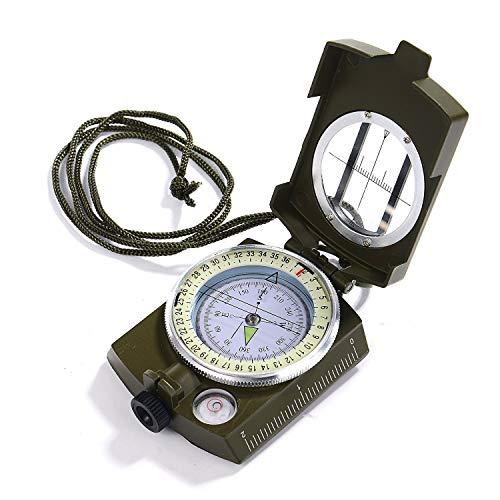 GWHOLE ミリタリー型 コンパス 方位磁針 温度計付き 高精度 ミリタリーコンパス 防水 蓄光 多機能 折り畳み式 アウトドア 登山 防災 ハイキング用 収納袋付き
