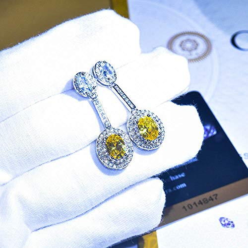 Large Oval Luxury Citrine Yellow Gemstone Women Wedding Drop Earrings 925 Sterling Silver Jewelry Christmas Gift