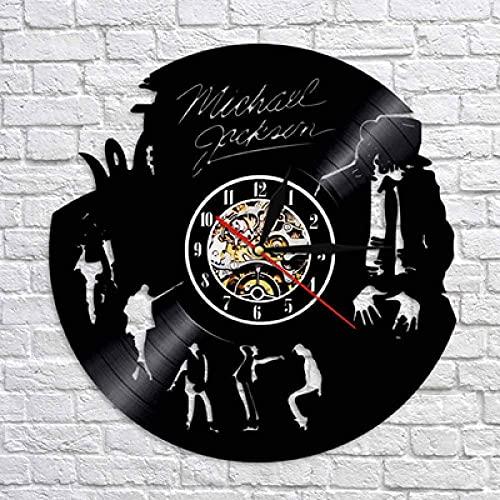 FANMUZIYU Reloj de Pared Diseño Moderno Tema Música Pegatinas 3D Pop Vinyl Record Reloj Reloj de Pared Decoración para el hogar Regalo para Hombre con LED (Color : No Led)