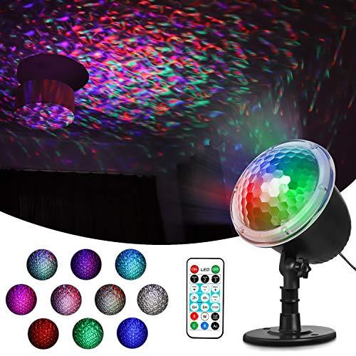 ESHOWEE LED Projektionslampe, Lichteffekt Projektor Außen Lampe mit 10 Motive Dynamisch und Fernbedienung, IP65 Wasserdichte Licht für Weihnachten, Silvester und Party