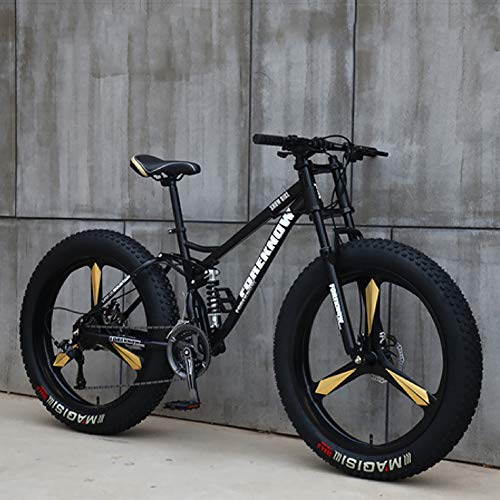 26 Inch Variable Speed Mountain Bikes,Fat Tire Mountain Bike,Bicycle,Men Women Student Variable Speed Bike Black 3 Spoke 26',21-Speed