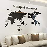 KINBEDY Acrylic 3D Wall Stickers Black World Map Wall Decal Easy to Install &Apply DIY Decor Sticker Home Art Decor. World Map…