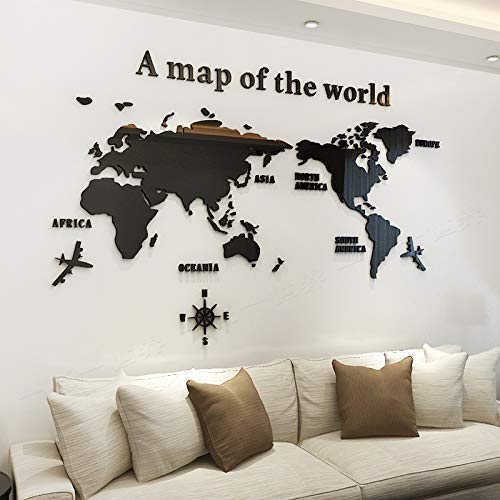 KINBEDY Acrylic 3D Wall Stickers Black World Map Wall Decal Easy to Install &Apply DIY Decor Sticker Home Art Decor. World Map.