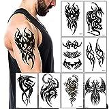 Temporary Tattoos Big Tribal Totem Tattoo Sticker for Men Women Black Large Body Art Makeup Fake Tattoo Waterproof Removable (Pattern5)