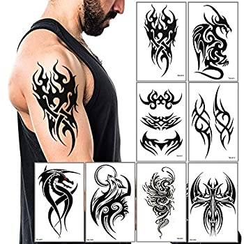 Temporary Tattoos Big Tribal Totem Tattoo Sticker for Men Women Black Large Body Art Makeup Fake Tattoo Waterproof Removable  Pattern5