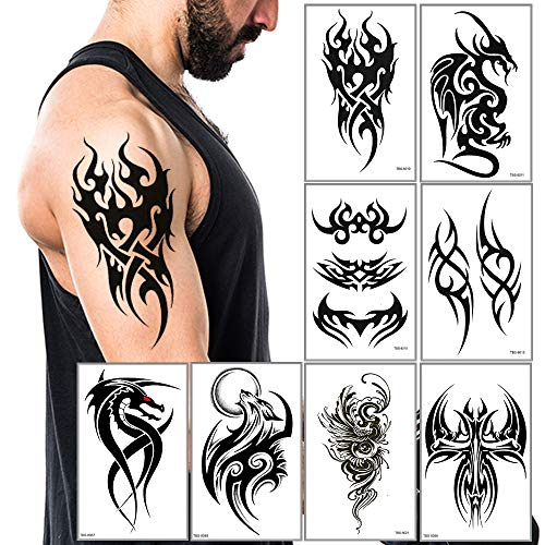 Temporary Tattoos Big Tribal Totem Tattoo Sticker for Men Women Black Large Body Art Makeup Fake Tattoo Waterproof Removable (Pattern5)