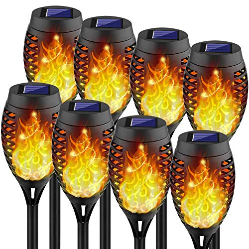 Kurifier Solar Lights Outdoor, 12LED-8Pack Solar Torch Light with Flickering Flame, Security&Waterproof/Festive&Romantic Decoration Landscape Tiki Torches for Yard, Patio, Garden-Auto On/Off Lighting