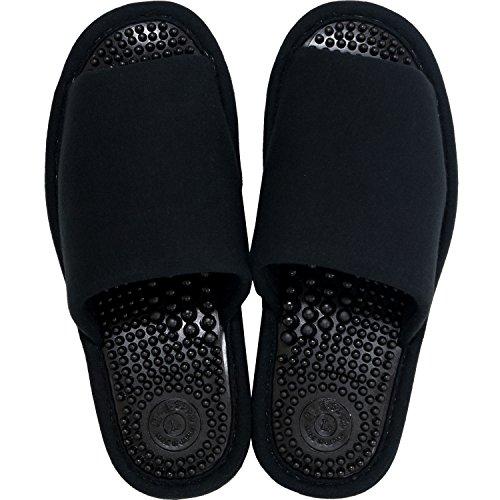 オカ 洗える 健康スリッパ ユニセックス Lサイズ 足のサイズ約24cm〜25cm ブラック