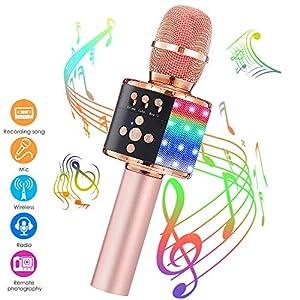 GLIME Karaoke Mikrofon, Drahtlose bluetooth Mikrofon Handmikrofon Dynamisches Mikrophon mit Lautsprecher für Erwachsene und Kinder, Party, KTV, Geburtstag, Kompatibel PC, Laptop, Android/IOS