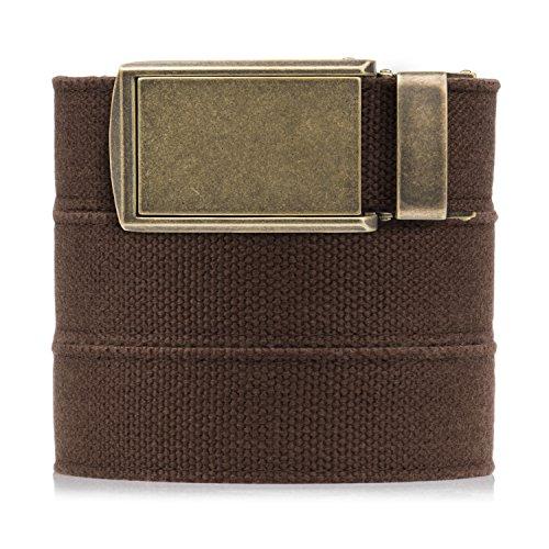 SlideBelts Men's Canvas Belt - Brown with Brass Buckle
