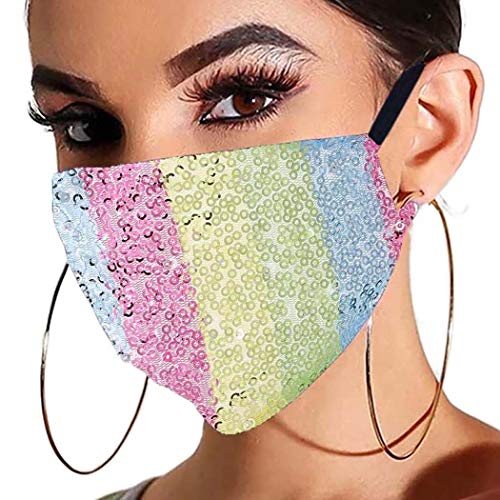 Barode Sparkly Sequins Face Mask Covering Colorful Masquerade Masks for Women and Girls(Rainbow stripes)