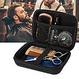 Kit de aseo de barba, 7 piezas/set Kit de barba portátil para hombres Aseo de hombres Crema para modelar la barba Cepillo de aceite Peine Tijera Bigote Cuidado del cabello Los mejores