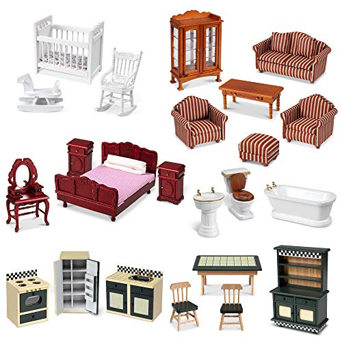 "Melissa & Doug Classic Victorian Wooden and Upholstered Dollhouse Furniture, 1:12 Scale, 23 Pieces, 20"" H x 14"" W x 12"" L  (E-Commerce Packaging), Multi, (Model: 31713)"