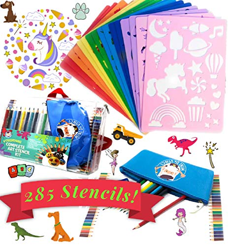 Drawing Stencils for Kids - Creative Art Set for Kids Travel Activities - Ideal Arts and Crafts Set for Girls and Boys.  Unicorn Stencils, Dinosaurs, Emojis, Alphabet, Numbers, and Animal Stencils