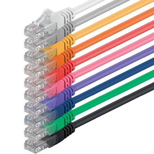 3m - 10 Colores - 10 Piezas - Cable de Red Ethernet con Conectores RJ45 CAT6 Cat 6 Cat.6 1000 Mbit/s