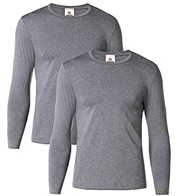 "LAPASA Men's Thermal Underwear Tops Fleece Lined Base Layer Long Sleeve Shirts 2 Pack M55 (S Chest 35""-37"" Sleeve 22"", Midweight Dark Grey)"