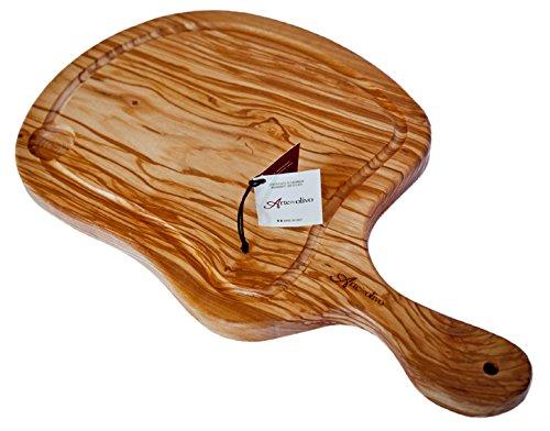 Wood&Design Tagliere bistecchiera per servire la Carne in pregiato Legno di ulivo - Made in Italy- per Ristorante, griglieria, rosticceria, agriturismo,trattoria,casa,ECC e per Idea Regalo,