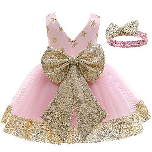 LZH Baby Christmas Dress Girls Koronkowa sukienka Cekinowa sukienka dla dzieci Bowknot Tutu Flower Birthday Party Suknia ślubna z nakryciem głowy