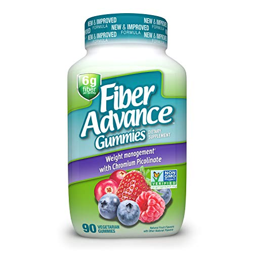 FiberAdvance Weight Management Gummies: Plant Based Fiber for Digestive Health and Chromium Picolinate for Weight Management Support, 90ct (30 Day Supply)