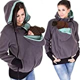 Haolong Three-in-One Multi-Function Mother Kangaroo Sweater Coat for Women Gray-Purple