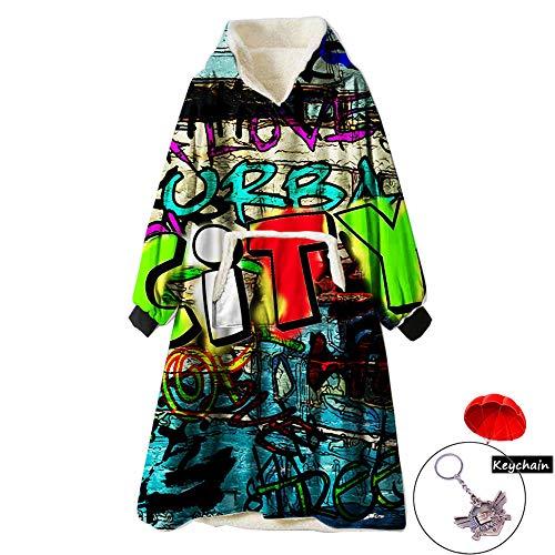ZUICHU sweatshirt oversize pullover dipte zacht gebreide trui warm mantel zak vooraan mouwen jurk lange mouwen unisex volwassenen (unisex) (één maat, zwart)