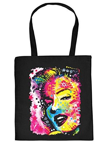 Nützliche Stofftasche mit Langen Tragegriffen in schwarz mit coolem Neon Aufdruck: Marilyn Monroe Schauspielerin und Superstar