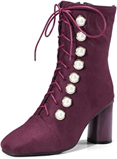 Women's Square Toe Dressy Ankle Boots Retro Lace Up Chunky High Heel Booties Studded Pearls Short Boot