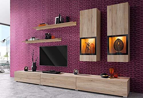 Moebelaktionsshop24 WOHNWAND 6-TLG Wohnzimmer LOWBOARD Eiche SAN REMO MATT NEU 275954