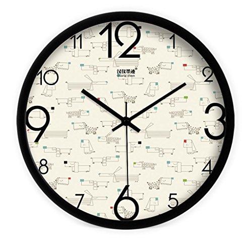 Creative moderne coréenne mignonne dessin animé chiot salon chambre grande horloge muette horloge quartz horloge , black , 12 inches