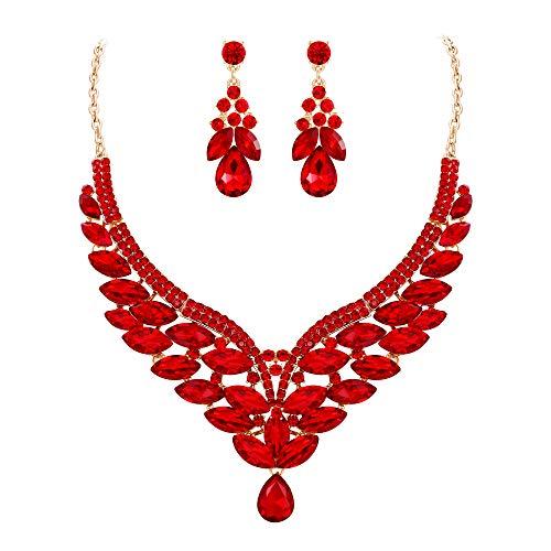 EVER FAITH Parure Gioielli Donna Cristallo Austriaco Matrimonio Sposa Foglia V Forma Collana Orecchini Set Rosso Oro-Fondo