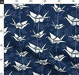Origami, Papierkranich, Japanisch, Blau, Schwarz Weiß,
