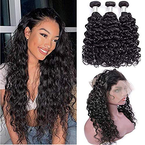 """vallbest Water Wave 360 Frontal with Bundles Unprocessed Virgin Brazilian Hair Bundles with Closure Human Hair Bundles with 360 Frontal Closure with Baby Hair 18 20 22+16"""" Natural Color"""