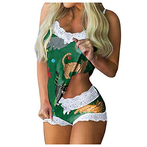 Pijama corto para mujer, sexy, conjunto de pijama corto, camisón, encaje, ropa de casa, con pantalones cortos, camiseta sin mangas, 2 piezas