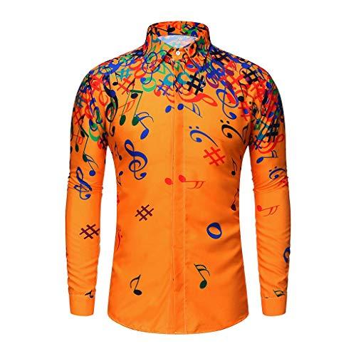 Xmiral Shirt Herren Musiknote Muster Lässig Langarm Hemd Top Umlegekragen Knopf Shirts Beiläufig Langärmliges Bluse Sweatshirts Camping Outdoor Tops T-Shirts(Gelb,M)