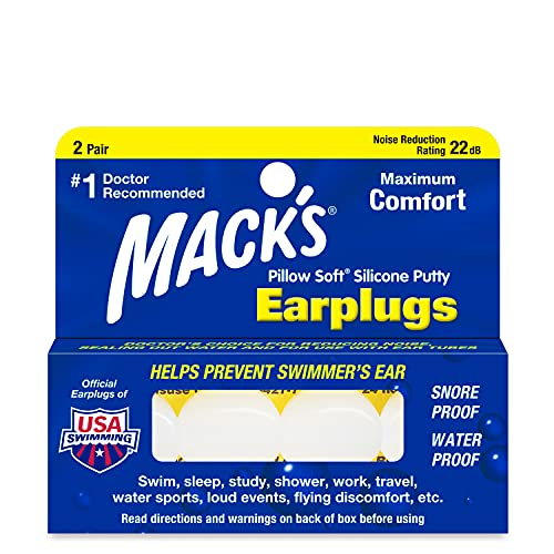 Mack's Pillow Soft Silicone Earplugs – 2 Pair – The Original Moldable Silicone Putty Ear Plugs...