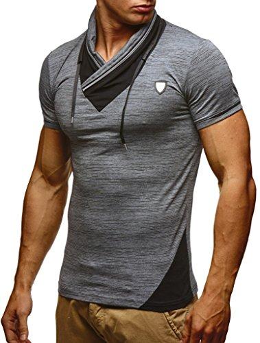 Leif Nelson Herren Sommer T-Shirt Stehkragen Slim Fit Casual Baumwolle-Anteil Cooles weißes schwarzes Männer Kurzarm-T-Shirt Hoodie-Sweatshirt-Longsleeve lang LN805 Anthrazit Large