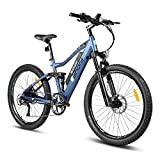 Eahora AM100 27.5 Inch Professional Mountain Electric Bike 48V 10.4Ah Removable Lithium Battery Hydraulic Brakes Full Air Suspension Electric Bicycle 350W Ebike Power Regeneration Tech 9 Speed