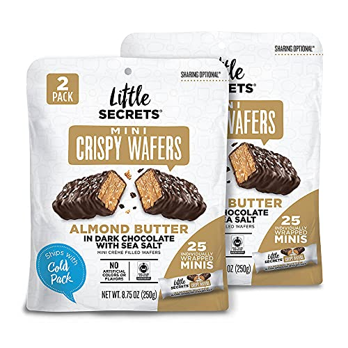 Little Secrets Dark Chocolate, Almond Butter & Sea Salt Crispy Mini Wafers   No Artificial Flavors, Corn Syrup or Hydrogenated Oils   Fair Trade Certified & All Natural   25ct Individually Wrapped