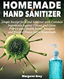 HOMEMADE HAND SANITIZER: Simple Receipt for Hand Sanitizer with Common Ingredients Against Viruses and Germ. Alcohol hand sanitizer, antibacterial hand sanitizer. lysol wipes bulk