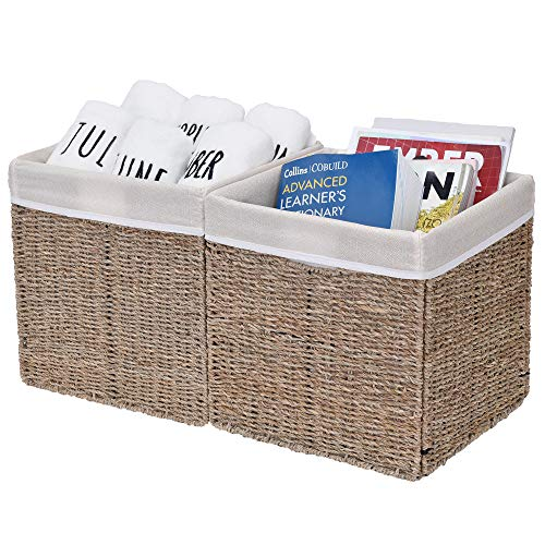 StorageWorks Rectangular Wicker Baskets for Shelves, Seagrass Hand-Woven Baskets with Linings, Large, 11.8 x 11.8 x 11.8 inches, 2-Pack