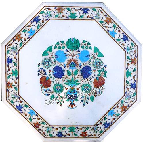 Mesa de café de mármol de 30 pulgadas con incrustaciones de piedras preciosas de color multicolor para decoración de la zona del pasillo