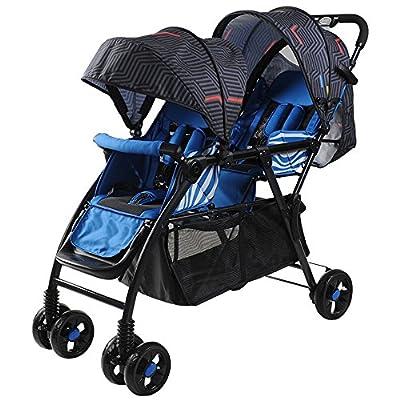Bicicletas HAIZHEN  Cochecito Silla de Paseo Doble Cochecito de bebé Gemelo Puede Sentarse Plegable Plegable Cochecito de bebé Doble Ligero para recién Nacido (Color : Azul)
