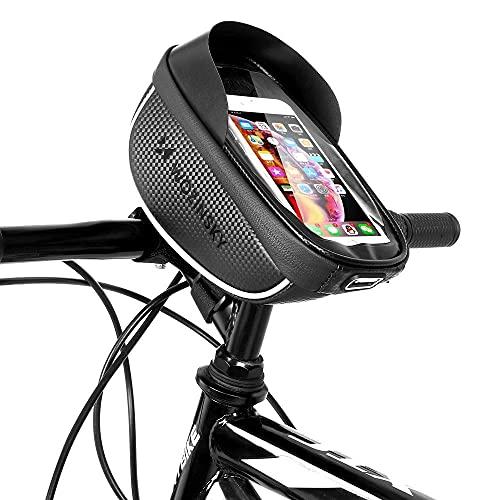 WOZINSKY Bolsa para manillar de bicicleta, resistente al agua, soporte para teléfono móvil para smartphones máx. 1 L