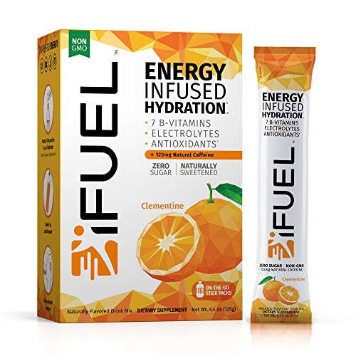iFUEL Energy Infused Hydration Electrolyte Powder (16 Count- Clementine) with B12 Vitamins, Natural Caffeine, Antioxidants | Sugar Free Vegan Energy Drink Mix & Water Enhancer for Recovery and Focus