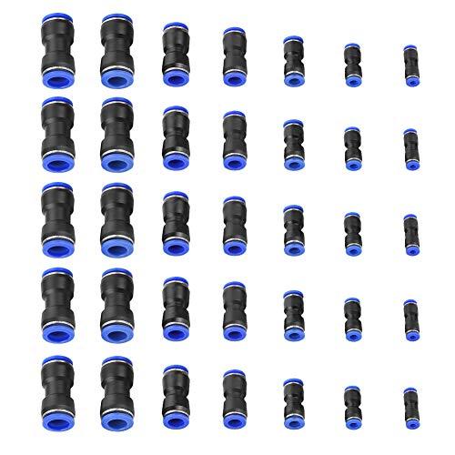 Akozon Quick Fittings 35Pcs Conector recto Air Push OD 4/6/8/10/12/14 / 16mm Manguera de aire Accesorios neumáticos para la conexión rápida de tuberías de aire, herramientas neumáticas