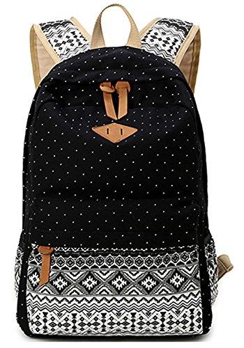 Keshi Neu Faschion Rucksäcke Damen Mädchen Schüler Lässige Canvas Rucksack Vintage Backpack Daypack Schulranzen Schulrucksack Wanderrucksack Schultasche Rucksack für Freizeit Outdoor Sport Schwarz Leinwand